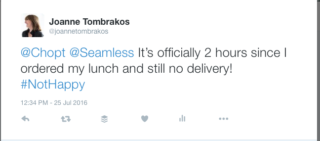 My Tweet to Chopt and Seamless